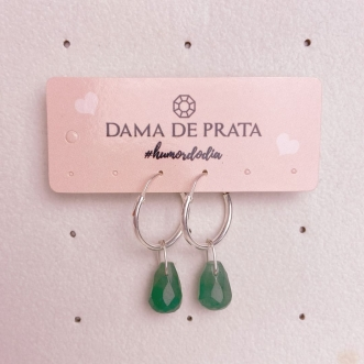 Brinco Argola Prata 925 Quartzo Verde