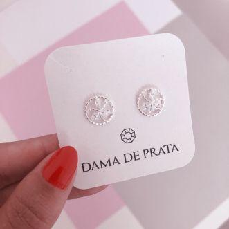 Brinco Mandala Flor Cravejada Prata 925