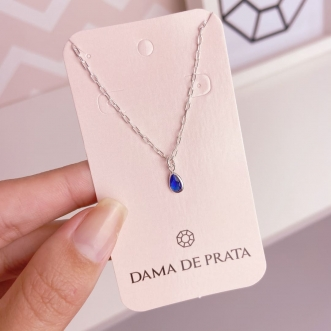 Choker Prata 925 Gota Azul