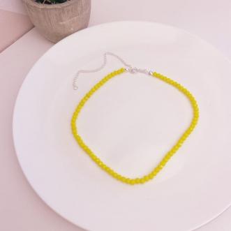 Choker Prata 925 Miçangas Amarelas