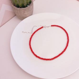 Choker Prata 925 Miçangas Vermelhas