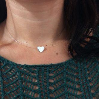 Colar Prata 925 coração fio de Nylon