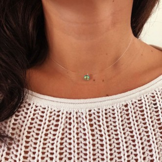 Colar Prata 925 Fio de Nylon Sereia verde
