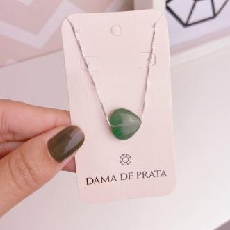 Colar Quartzo Verde Prata 925 Coração