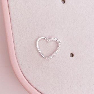 Piercing Cartilagem Prata 925 Coração