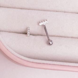 Piercing Cravejado Trágus Prata 925 Aço Cirúrgico Retângulo