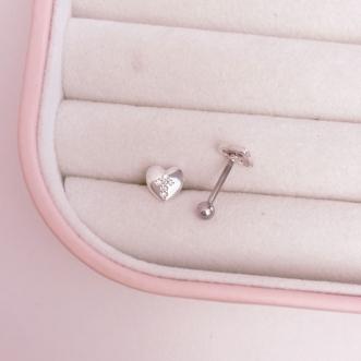 Piercing Trágus Prata 925 Aço Cirúrgico Coração Cruz