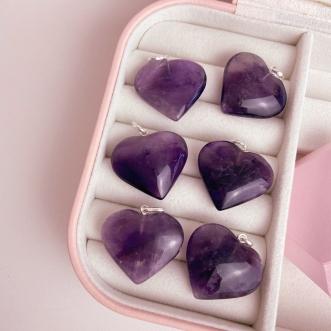 Pingente Ametista Pedra Natural Prata 950 Coração