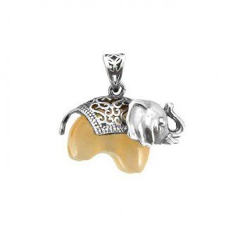 Pingente Elefante Prata 925 Pedra Olho de Gato