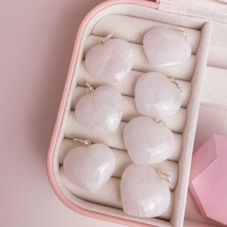Pingente Quartzo Leitoso Prata 950 Pedra Natural Coração