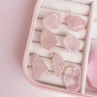 Pingente Quartzo Rosa Pedra Rolada Prata 950
