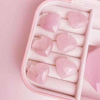 Pingente Quartzo Rosa Prata 950 Pedra Natural Coração