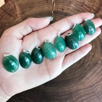 Pingente Quartzo Verde Cabochão Prata 950