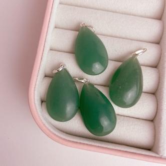 Pingente Quartzo Verde Prata 950 Pedra Natural Gota