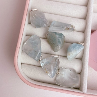Pingente Topázio Azul Prata 950 Pedra Natural Rolada