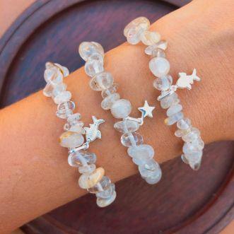 Pulseira Pedras Naturais Cristal Rutilado Prata 925