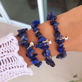 Pulseira Pedras Naturais Lápis Lazuli Prata 925