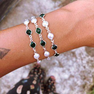 Pulseira Zircônias coloridas e Pérolas Prata 925 Verde Esmeralda