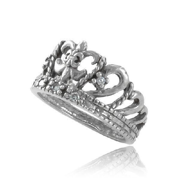 Anel Coroa Glamour Prata 925
