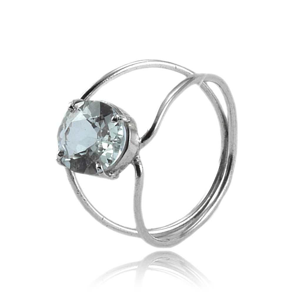 Anel Cristal Em Prata 925