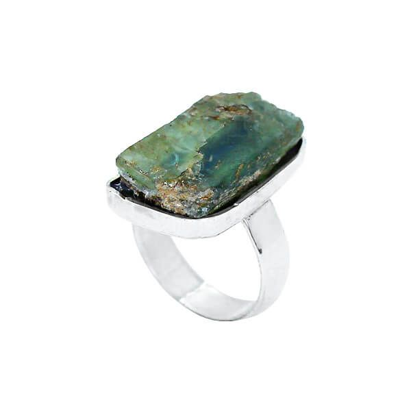 Anel Pedra Bruta Cianita Verde Prata 925