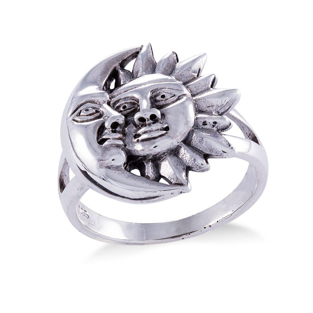 Anel Sol e Lua Prata 925