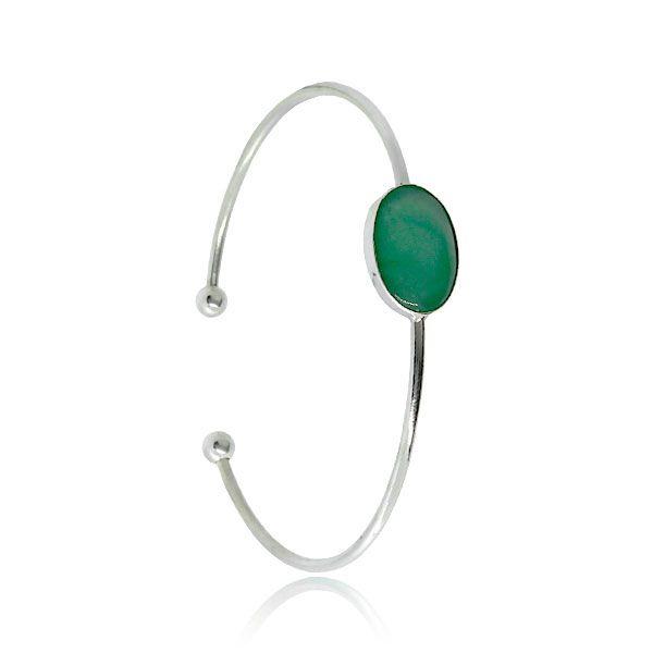 Bracelete Quartzo Verde Prata 925