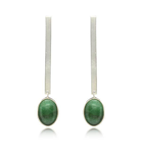 Brinco Cabochão Quartzo Verde Prata 925