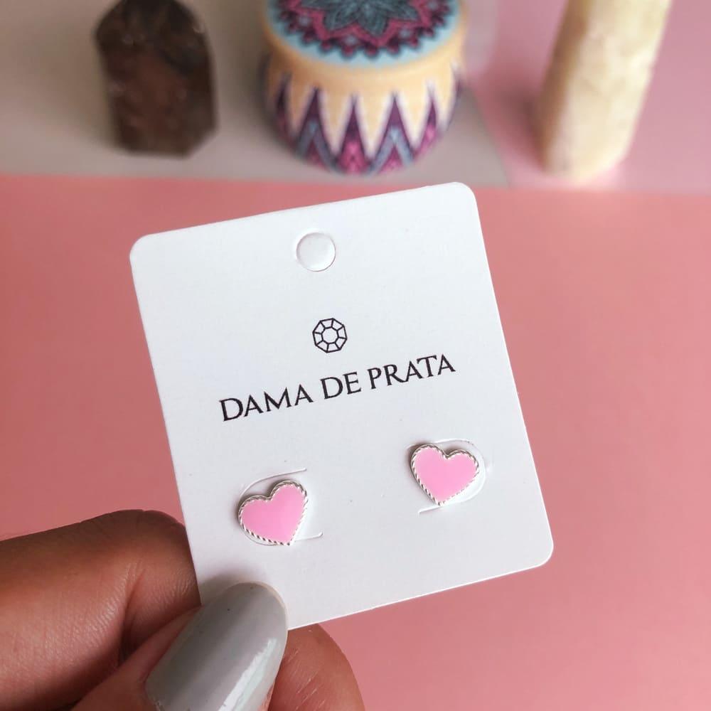 Brinco Coração Rosa Prata 925