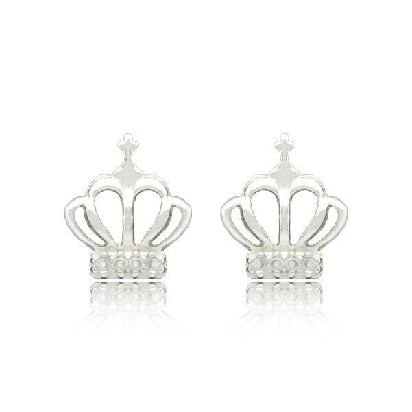 Brinco Coroa com zircônias Prata 925