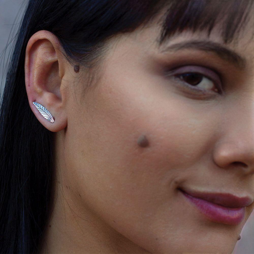 d52d06082267d ... Brinco Ear Cuff Folha Longa em Prata 925 - Dama de Prata