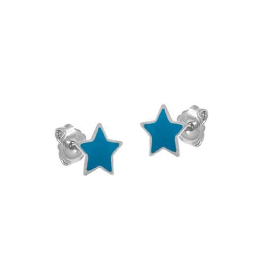 Brinco Estrela Prata 925 Resina Azul