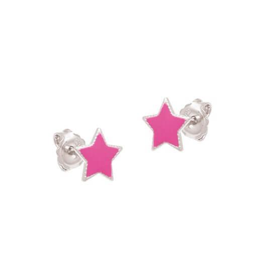 Brinco Estrela Prata 925 Resina Rosa
