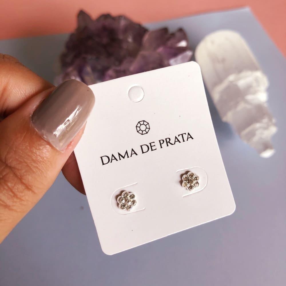 Brinco Flor Cravejada Tarraxa Baby Prata 925