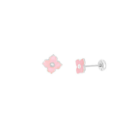 Brinco flor Prata 925 Tarraxa Baby