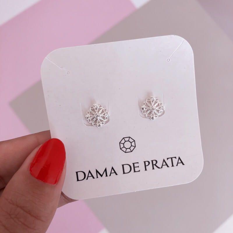 Brinco Mandala cravejada Prata 925