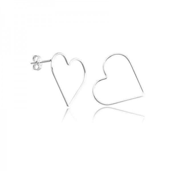 Brinco Prata 925 coração vazado