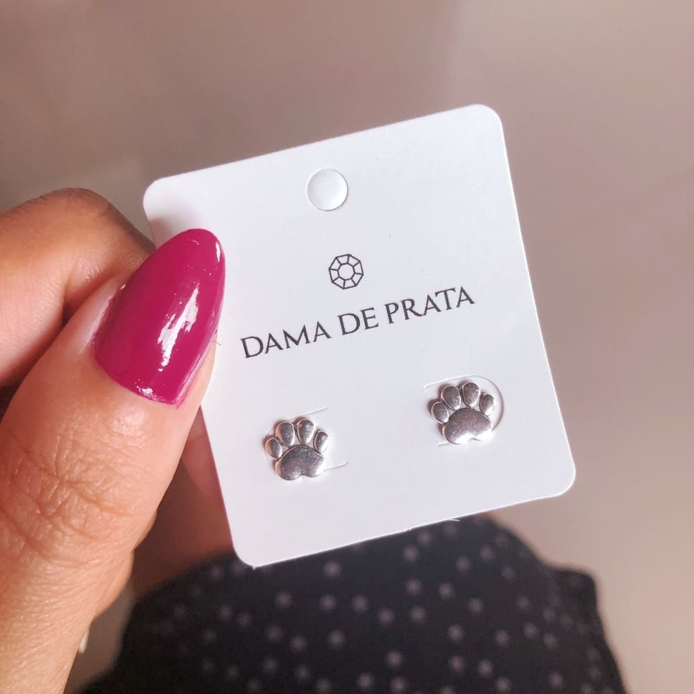Brinco Prata 925 Patinha Pet Tarraxa Baby
