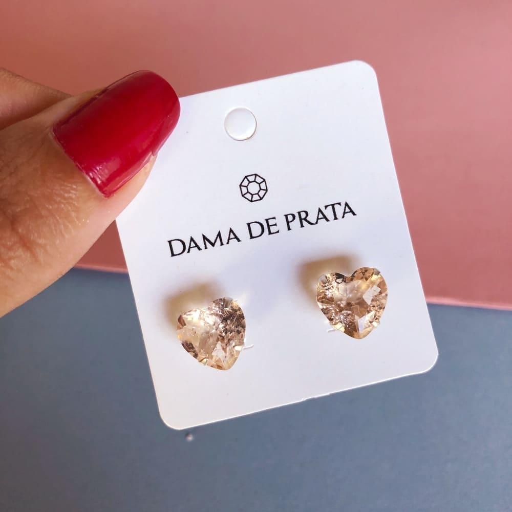 Brinco zircônia 10mm Prata 925 coração Rose Gold