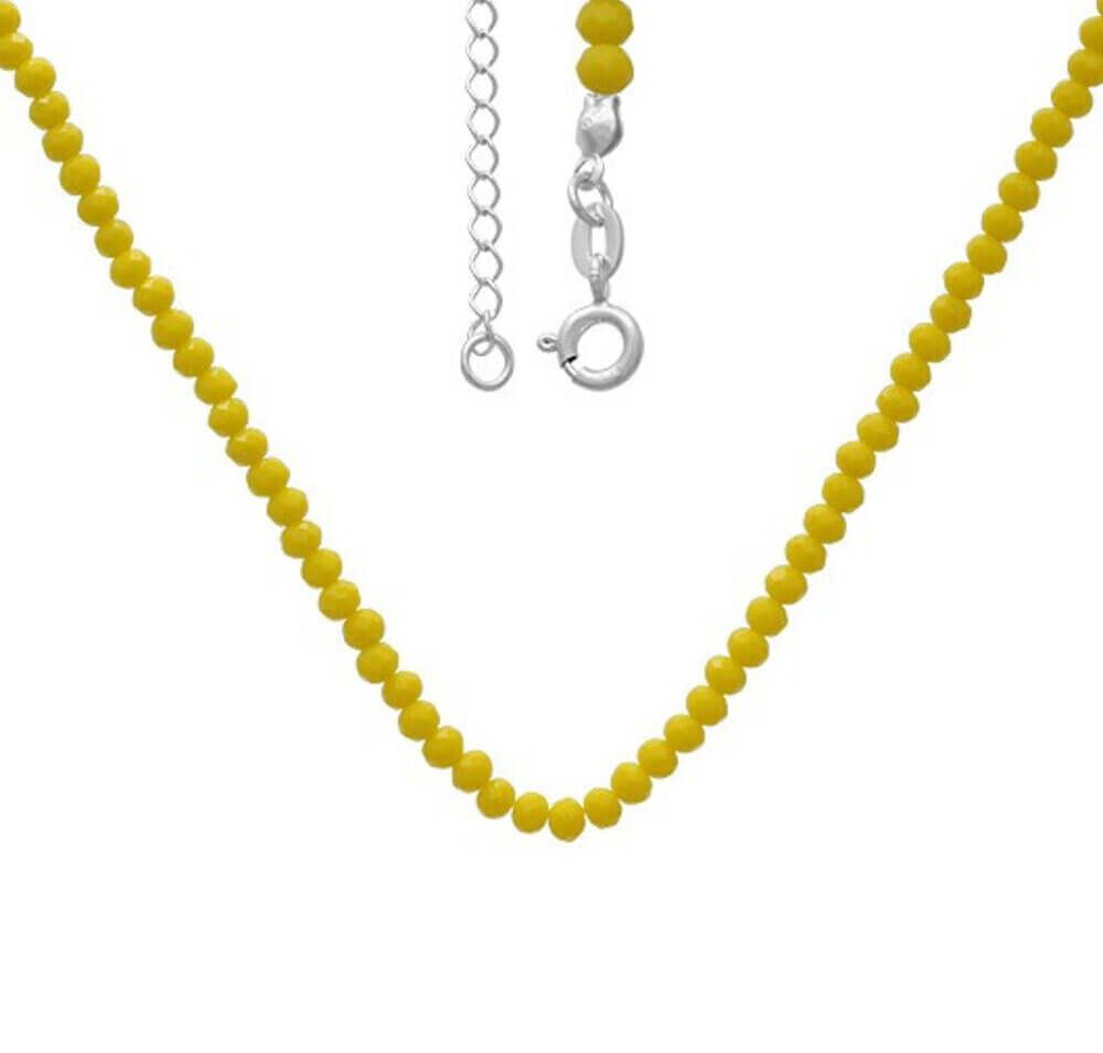 Chocker miçangas amarelas Prata 925