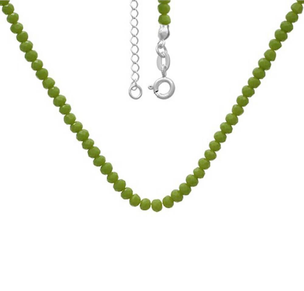 Chocker miçangas verdes Prata 925