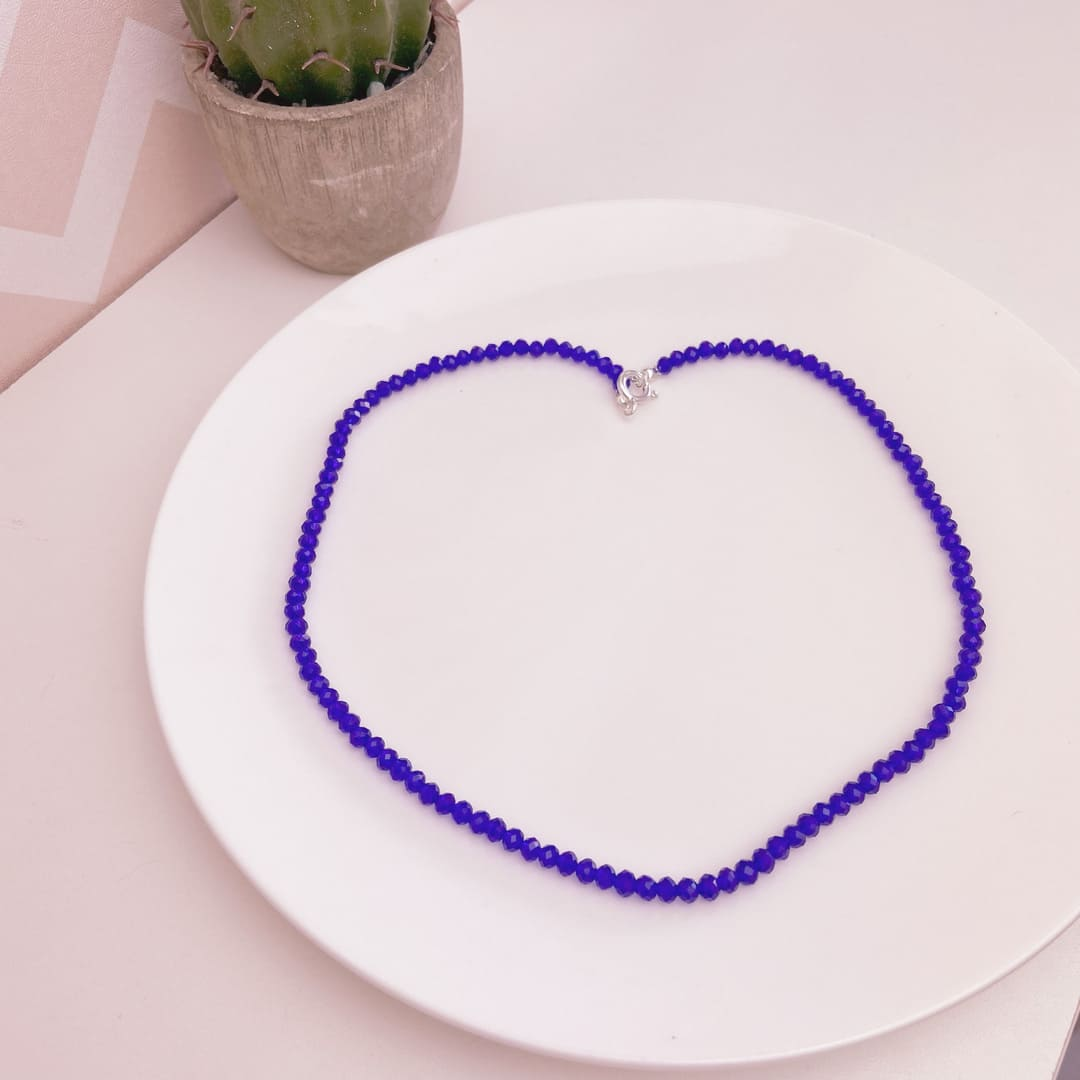 Choker Prata 925 Miçangas violetas