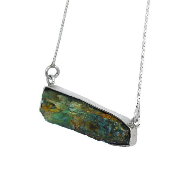 Colar Cianita Verde pedra bruta Prata 925