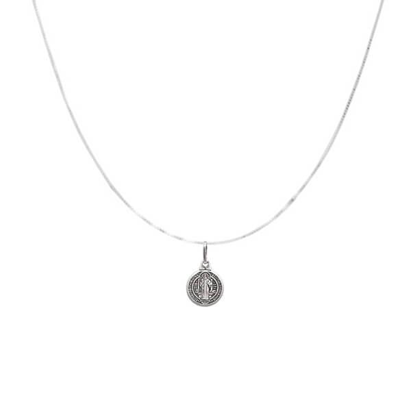 Colar Medalha de São Bento Prata 925