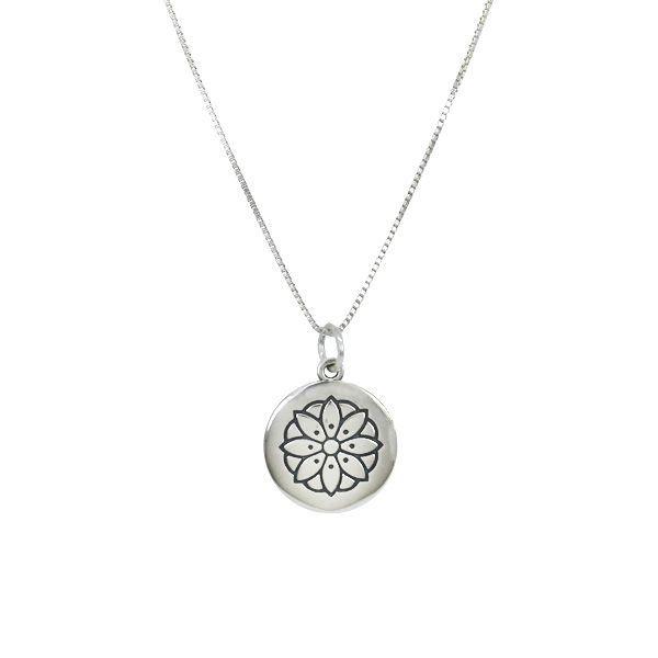 Colar Medalha Flor Prata 925