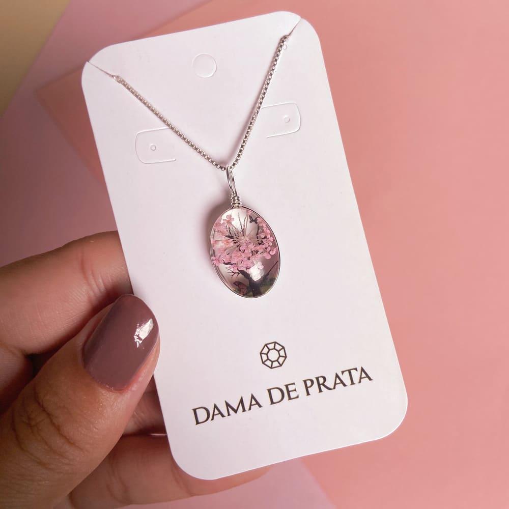 Colar Orgonite Flores Prata 925 Rosa