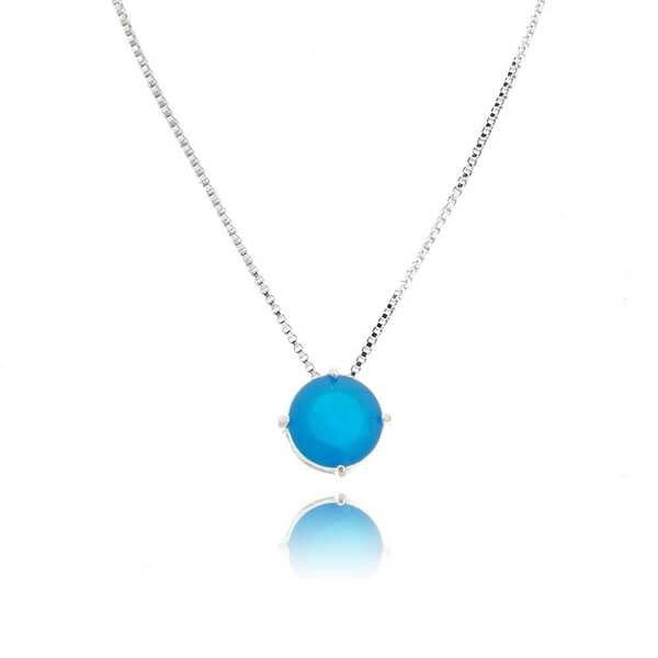 Colar Ponto de Luz Azul Marine Prata 925