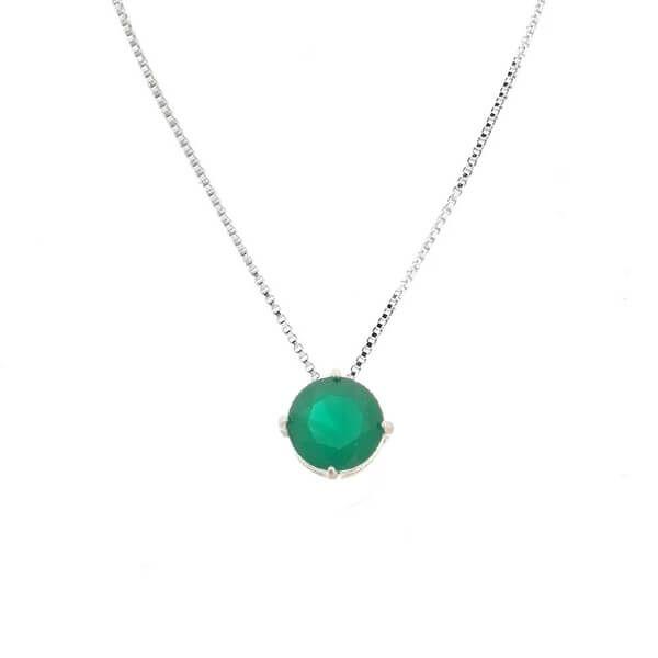 Colar Ponto de Luz Verde Esmeralda Prata 925
