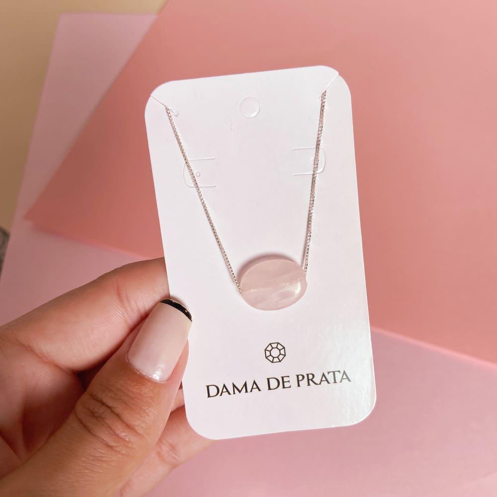 Colar Quartzo Rosa Prata 925