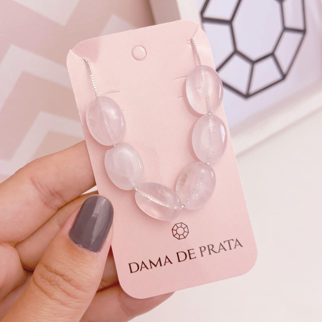 Colar Quartzo Rosa Prata 925 Longo